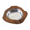 Round Teak Bowl With Aluminum Insert - Small