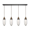 Owen 4 Light Pendant In Oil Rubbed Bronze And Antique Brass
