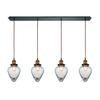 Bartram 4 Light Pendant In Oil Rubbed Bronze And Antique Brass