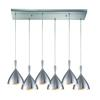 Spun Aluminum 6 Light Pendant In Satin Nickel