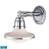 ELK lighting Retrospective 1 Light LED Wall Sconce In Polished Chrome And Opal White Glass
