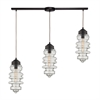 ELK lighting Cipher 3 Light Pendant In Oil Rubbed Bronze And Clear Glass