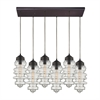 ELK lighting Cipher 6 Light Pendant In Oil Rubbed Bronze And Clear Glass