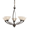 ELK lighting Elysburg 5 Light Chandelier In Oil Rubbed Bronze And White Glass