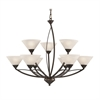 Elysburg 9 Light Chandelier In Oil Rubbed Bronze And White Glass