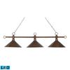 ELK lighting Designer Classic 3 Light LED Billiard In Antique Copper With Hand Hammered Iron Shades