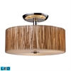 Modern Organics 3 Light LED Semi Flush In Polished Chrome And Bamboo Stem
