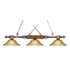 Designer Classics 3 Light Billiard In Wood Patina And Amber Gratina Glass