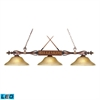 Designer Classics 3 Light LED Billiard In Wood Patina And Amber Gratina Glass