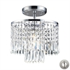 ELK lighting Optix 1 Light Flushmount In Polished Chrome And Clear Crystal - Includes Recessed Lighting Kit