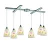 ELK lighting Seashore 6 Light Pendant In Satin Nickel And Hand Painted Glass