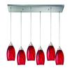 Galaxy 6 Light Pendant In Satin Nickel And Red
