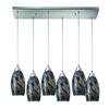 ELK lighting Galaxy 6 Light Pendant In Satin Nickel And Smoke