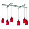 ELK lighting Galaxy 6 Light Chandelier In Satin Nickel And Red Glass