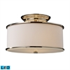 Lureau 2 Light LED Semi Flush In Polished Nickel