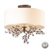 ELK lighting Winterberry 3 Light Semi Flush In Antique Darkwood - Includes Recessed Lighting Kit
