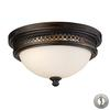 ELK lighting Flushmounts 2 Light Flushmount In Deep Rust And Opal White Glass - Includes Recessed Lighting Kit