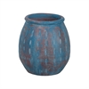 Rustic Blu Vase IV In Distressed Blue With Teardrop Pattern