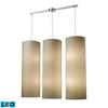 Fabric Cylinder 12 Light LED Pendant In Satin Nickel