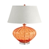 Recycled Fluted Glass Urn Table Lamp In Orange