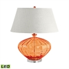 Recycled Fluted Glass Urn LED Table Lamp In Orange