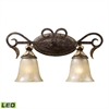 Regency 2 Light LED Vanity In Burnt Bronze And Gold Leaf