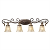 Regency 4 Light Vanity In Burnt Bronze And Gold Leaf