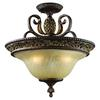 Regency 3 Light Semi Flush In Burnt Bronze And Gold Leaf