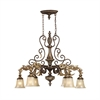 Regency 6 Light Island In Burnt Bronze And Gold Leaf