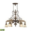 Regency 6 Light LED Island In Burnt Bronze And Gold Leaf