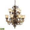 ELK lighting Regency 12 Light LED Chandelier In Burnt Bronze And Gold Leaf