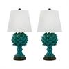 Terra Cotta Artichoke Table Lamps In Blue - Set of 2