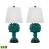 Terra Cotta Artichoke LED Table Lamps In Blue - Set of 2