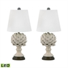 Terra Cotta Artichoke LED Table Lamps In Cream - Set of 2