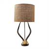 Faux Horn Table Lamp In Brown With Burlap Shade
