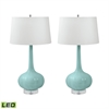 Del Mar Porcelain LED Table Lamps In Mint - Set of 2