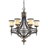 ELK lighting Georgian Court 6 Light Chandelier In Antique Bronze And Dark Umber