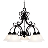 ELK lighting Buckingham 5 Light Chandelier In Matte Black And White Faux Marble Glass