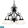 ELK lighting Buckingham 5 Light LED Chandelier In Matte Black And White Faux Marble Glass