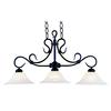 Buckingham 3 Light Island In Matte Black And White Faux Marble Glass
