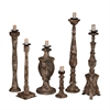 Set Of Six Carved Candle Sticks