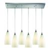 Vesta 6 Light Pendant In Satin Nickel And White Glass