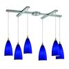 ELK lighting Vesta 6 Light Pendant In Satin Nickel And Royal Blue Glass