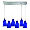 Vesta 6 Light Pendant In Satin Nickel And Royal Blue Glass