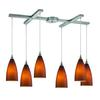 Vesta 6 Light Pendant In Satin Nickel And Tobacco Glass