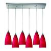 ELK lighting Vesta 6 Light Pendant In Satin Nickel And Cardinal Red Glass
