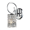 Optix 1 Light Wall Sconce In Polished Chrome And Clear Crystal