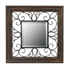 Wood Framed Mirror With Iron Detailing