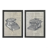 Set Of 2 Antique Typewriter Prints On Glass