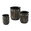 Set Of 3 Oxidized Finish Planters